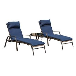 LOKATSE HOME 3 Pieces Outdoor Patio Chaise Lounges Chairs Set Adjustable with Folding Table, Dar ...