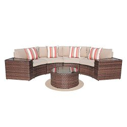 SUNSITT Outdoor 7-Piece Half-Moon Sectional All Weather Woven Sectional Set w/Round Coffee Table ...