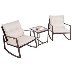 Walsunny 3 Pieces Patio Set Outdoor Wicker Patio Furniture Sets Modern Rocking Bistro Set Rattan ...