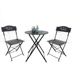 SUNSITT 3 Piece Patio Bistro Set Folding Outdoor Furniture Set Patio Table and Chairs Steel Fram ...