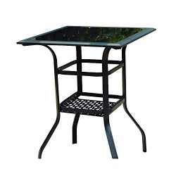 LOKATSE HOME High Outdoor Patio Bar Height Glass Top Table, 1PCS Table, 1PCS Table