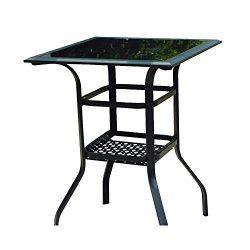 LOKATSE HOME High Outdoor Patio Bar Height Glass Top Table, 1PCS Table, 1PCS Table