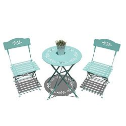 OC Orange-Casual 3-Piece Floral Bistro Set, Steel Folding Dining Table and Chairs Garden Backyar ...