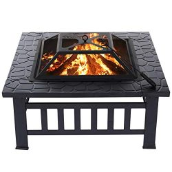 "KingSo Outdoor Fire Pit Metal 32"" Square Patio Stove Burning Firepit with Spark Screen for ..."