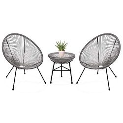 Best Choice Products 3-Piece Outdoor Acapulco Woven Rope Patio Conversation Bistro Set with Glas ...