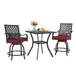 PHI VILLA Patio Height Bar 3 Piece Set Bistro Outdoor Garden Backyard Stools Set, Swivel 2 Patio ...