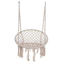 Hammock Chair Macrame Swing Hanging Cotton Rope Swing Chair for Indoor & Outdoor Home Garden ...