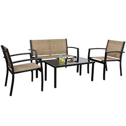 Flamaker 4 Pieces Patio Furniture Outdoor Furniture Outdoor Patio Furniture Set Textilene Bistro ...