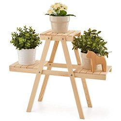EZOWare Plant Rack, Wood Stepping Style Flower Succulents Leaves Pot 3 Shelves Stand for Indoor  ...
