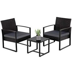 Yaheetech 3 Pieces Patio Furniture Sets Indoor Outdoor Wicker Modern Bistro Set Rattan Chair Con ...