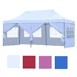 Leisurelife Outdoor Pop Up 10'x20′ Wedding Tent with 6 Sidewalls – White Foldi ...