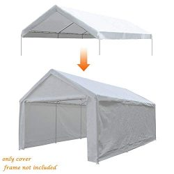 Abba Patio 12 x 20-Feet Carport Replacement Top Canopy Cover for Garage Shelter with Ball Bungee ...