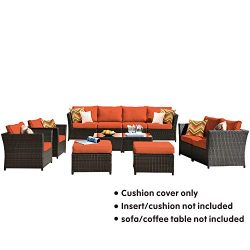 ovios Patio Furniture Cushion Cover Set, Backyard Sofa Outdoor Furniture 12 Pcs Sets,PE Rattan W ...