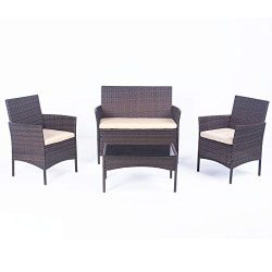 United Flame Sofa sets 4 Pieces Outdoor Patio Furniture Sets Rattan Chair Wicker Set Backyard Po ...