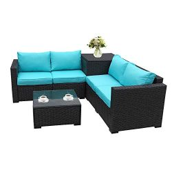 Patio PE Wicker Furniture Set 4 Piece Outdoor Black Rattan Sectional Loveseat Couch Set Conversa ...