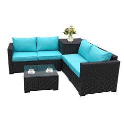 Patio PE Wicker Furniture Set 4 Piece Outdoor Black Rattan Sectional Loveseat Couch Set Conversa ...