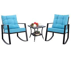 Do4U Outdoor Rocking Chair Set 3-Piece Patio Bistro Set- Cushioned Brown PE Wicker Rattan Chairs ...