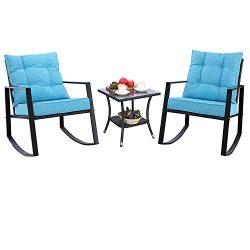 Do4U Outdoor Rocking Chair Set 3-Piece Patio Bistro Set- Cushioned Brown PE Wicker Rattan Chairs ...