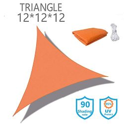 KUD Shade Triangle 12'x12'x12'Orange Waterproof Sun Shade Sail Triangle Canopy ...