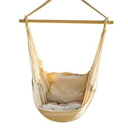 CCTRO Hanging Rope Hammock Chair Swing Seat, Large Brazilian Hammock Net Chair Porch Chair for Y ...