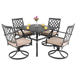 PHI VILLA Outdoor Patio Furniture 5 Piece Dining Set with 37″ Larger Dining Table and 4 Ro ...