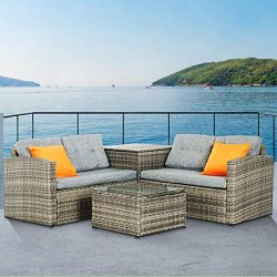 mecor 4PC Patio Furniture Set, Wicker Outdoor Furniture Sectional Cushioned Sofa Set with Glass  ...