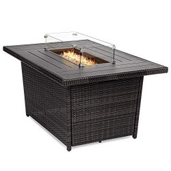 Best Choice Products 52-inch 50,000 BTU Outdoor Wicker Patio Propane Gas Fire Pit Table with Alu ...