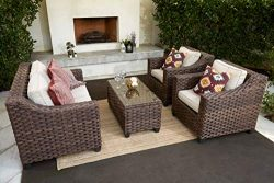 Quality Outdoor Living 65-5173833A Freeport All-Weather Wicker 4 Piece Deep Seating Set, Brown T ...