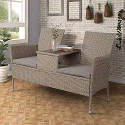 Merax Outdoor Furniture Sets Patio Conversation Set Rattan Wicker Sofas with Removable Cushions  ...