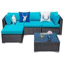 Glowin Outdoor Patio Sectional Sofa-5 Piece Rattan Wicker Furniture Set with Blue Cushion (5 PC)
