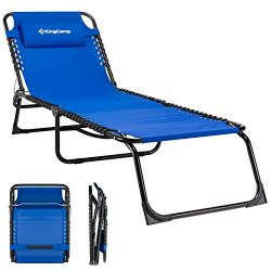 KingCamp Patio Lounge Chair Chaise Bed Folding Camping Cot 3 Adjustable Reclining Positions with ...