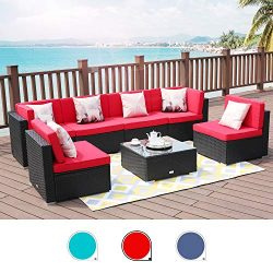 LUCKWIND Patio Conversation Sectional Sofa Chair – 7-Piece Set All-Weather Black Checkered ...