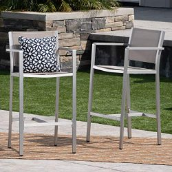 Christopher Knight Home 304258 Tammy Coral Outdoor Grey Mesh 29.50 Inch Barstools with Silver Ru ...