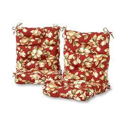 Greendale Home Fashions Outdoor High Back Chair Cushion (set of 2), Roma Floral