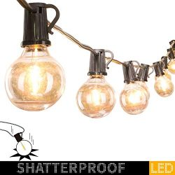 50Foot LED G40 Outdoor Patio String Lights with 50 Shatterproof LED Clear Globe Bulbs, Warm Whit ...