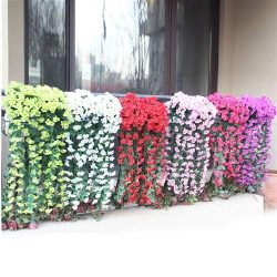 Hanging Flowers Plants,Artificial Violet Flower Wall Wisteria Basket Hanging Garland Vine Flower ...