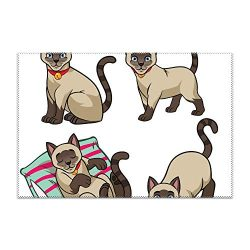 yyoungsell Cute Siamese Cat Placemat for Dining Table Heat Resistant Wipeable Non-Slip