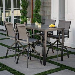 Hanover Naples 5-Piece High-Dining Set with 4 Swivel Chairs and a Glass-Top Bar Table, Gray, NAP ...