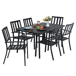 MF Studio 7-Piece Metal Outdoor Patio Dining Bistro Set with 6 Striped Armrest Chairs and Steel  ...