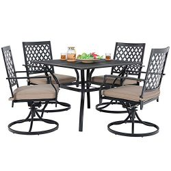 MF Studio Metal Patio Club Bistro Bar Sets Swivel Dining Rocker Chair with 2.7″ Thick Cush ...