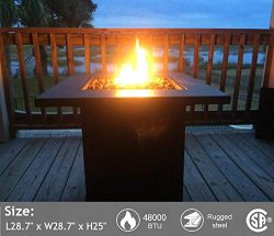 Portable Propane Gas Fire Pit Table – 48,000 BTU Gas Firepits Grill, Outdoor Tabletop Fire ...