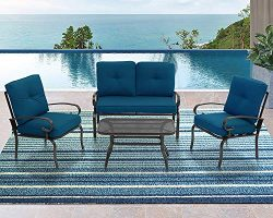Incbruce 4Pcs Outdoor Patio Furniture Conversation Set (Loveseat, Coffee Table, 2 Lounge Chairs) ...