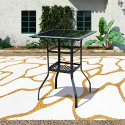 Patio Festival Outdoor Bistro Bar Table,Patio Metal Steel Slat Dining Side Table 2-Tier Tempered ...