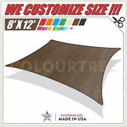 ColourTree 2nd Gen 8′ x 12′ Brown Sun Shade Sail Rectangle Canopy Awning, Heavy Duty ...