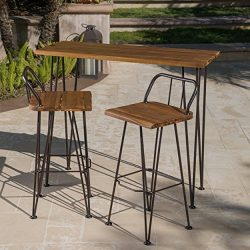 Leonardo Outdoor Industrial Teak Finished Acacia Wood Bar Set with Rustic Metal Finished Iron Frame