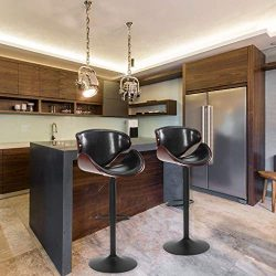 Modern PU Leather Adjustable Swivel Barstools, Armless Hydraulic Kitchen Counter Bar Stools Synt ...
