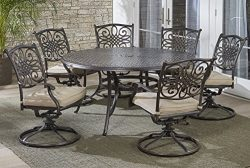 Hanover TRADDN7PCSWRD6 7-Piece Tan Six Swivel Rockers Traditions Dining Set with 60″ Round ...