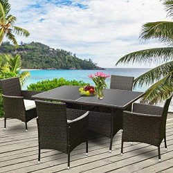 Tangkula Wicker Dining Set 5 Piece Outdoor Patio Furniture Set Wicker Rattan Table and Chairs Se ...