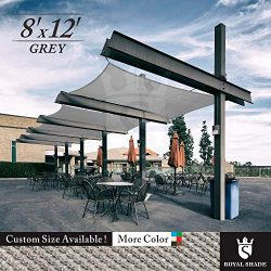 Royal Shade 8′ x 12′ Gray Rectangle Sun Shade Sail Canopy Outdoor Patio Fabric Shelt ...