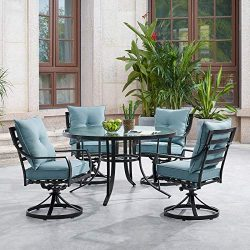 Hanover LAVDN5PCSWRD-BLU Lavallette 5-Piece Ocean Blue with 4 Swivel Rockers and a 52-in. Round  ...